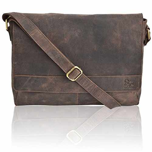 Leather Laptop Messenger Bag Office Briefcase College Bag Brown Crazy Horse ec025581ae889
